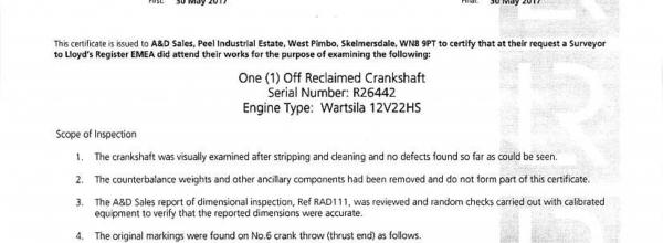 Wartsila 12V22 HF Crankshaft